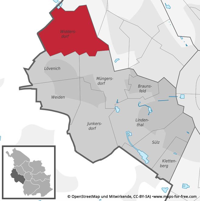 Widdersdorf Karte