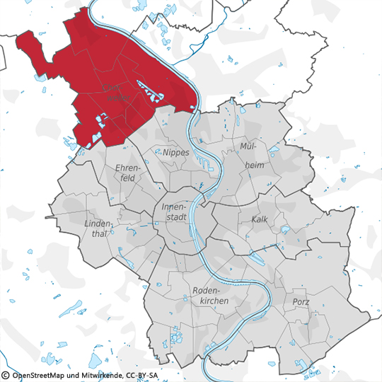 Stadtkarte Chorweiler, Köln Kreuzfeld