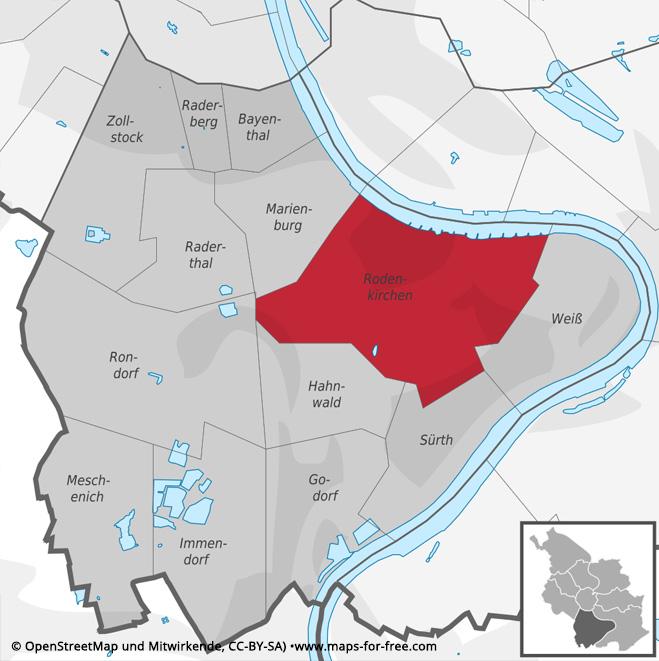 Karte Stadtteil Köln-Rodenkirchen